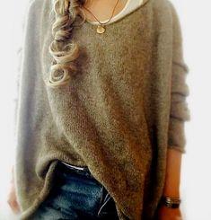 Женский пуловер оверсайз спицами