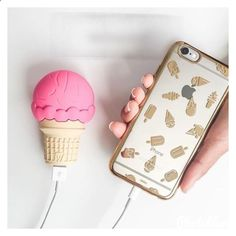 Phone Charger - Ice cream portable charger with iPhone case by samie-0312 ❤ liked on Polyvore…