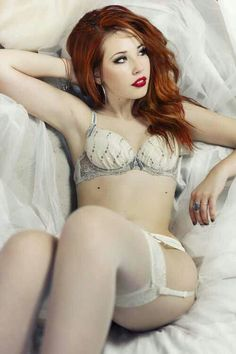 Sexy Redhead Lingerie Shear White Stockings Garters ❣️☥D Sexy Girl, Up Girl, Beautiful Redhead, Beautiful Women, Red Headed League, Beauté Blonde, Hottest Redheads, Redhead Girl, South Beach