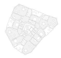 Mathis Kamplade, Wohnhaus in Oerlikon, 18 Apartments, Tramstrasse / Zürich 2012 – 2014 Architecture Visualization, Architecture Drawings, Architecture Plan, Zurich, Site Plan Drawing, Hall Flooring, Floor Plan Layout, Loft Interiors, Building Design