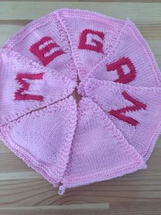 "Handmade Personalised Knitted Bunting ""Megan"" Gift Baby Toddler  