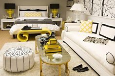I hadn't given the pairing of black and yellow much thought until recently. You may instantly think bumble bee or team jersey ... but this combination never looked so GLAM! I'm loving it in fashion, and in the home, particularly in the bedroom ...