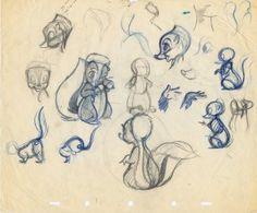 "Marc Davis sketches of Flower for ""Bambi"""