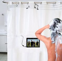 Whoa—Shower Tunes is a curtain that pumps music, video and more into your tub.