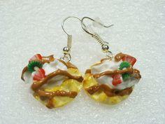 Waffle earrings Polymer clay by GiraffesKiss on Etsy, £7.50