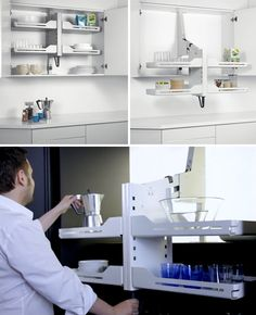 Shelf system pulls out and down to allow easier access to items on top shelves. White Furniture, New Furniture, Kitchen Furniture, Bedroom Furniture, Furniture Movers, Discount Furniture, Furniture Design, Space Saving Kitchen, Space Saving Storage
