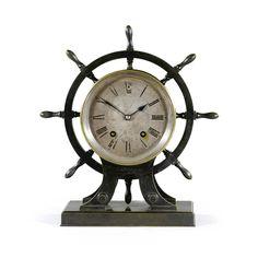 A BRONZE SHIP'S WHEEL MANTEL CLOCK, FRENCH, CIRCA 1900