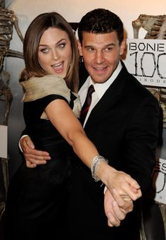 "Emily Deschanel and David Boreanaz at the ""Bones"" 100th Episode Celebration on April 7, 2010"