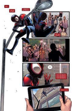 """Maybe no one noticed. No. They noticed."" (Ultimate Comics: Spider-Man #19) - Sara Pichelli, Colors: Justin Ponsor"
