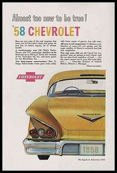 Chevrolet Impala 1958 Anniversary Gold V8 Turbo Thrust Rear View 1957 Ad