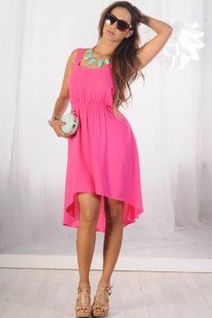 comfortable pink high-low Summer dress<3