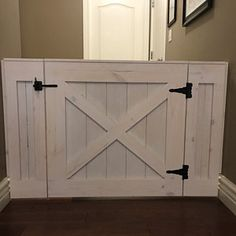 Rustic Barn Door Style Baby/ Pet gate w/special Fairy Door or Cat Door Barn Door Baby Gate, Barn Door Decor, Pet Gate, Garage Door Design, Garage Doors, Sliding Doors, Barn Door Locks, Baby Gates, Dog Gates