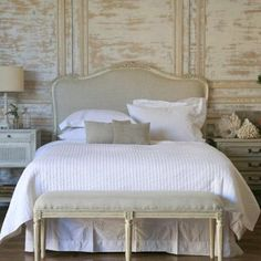 Suzie: Beds/Headboards - Eloquence Sophia Upholstered Headboard Antique White - french, bed