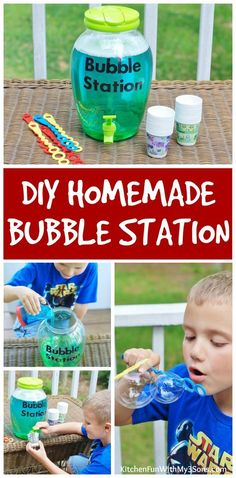 DIY Bubble Refill Station with Homemade Bubbles Recipe from KitchenFunWithMy3Sons.com