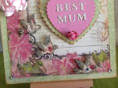 Mother's Day card with roses and sparkly bds by Paintspotsandpaper on Etsy