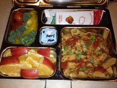 Ziti, veggies, and fruit