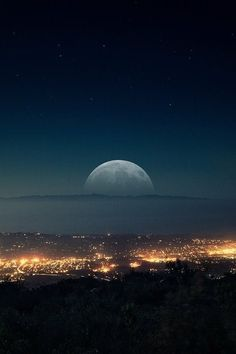 Background City Darkness Lights Moon Night Wallpaper Beautiful