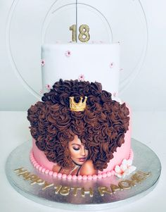 Afro woman two tiered birthday cake Diva Birthday Cakes, Queens Birthday Cake, Soccer Birthday Cakes, Barbie Birthday Cake, Birthday Cake For Him, Barbie Cake, Birthday Cakes For Women, Birthday Ideas, Diva Cakes