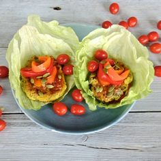 Vegan burgers in lettuce wraps