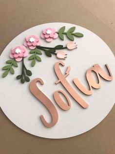 Custom wooden name sign cute addition to any nursery or as a baby shower gift or birthday gift, choose the size colors and flowers fonts - Personalized Wooden Name Sign Cute Addition To Any Nursery Or Wooden Name Signs, Wooden Names, Wood Crafts, Diy And Crafts, Baby Mobile, Birthday Decorations, Name Decorations, Birthday Banners, Paper Flowers