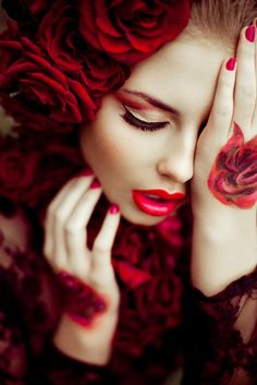Beautiful in Red Roses. Foto Fashion, High Fashion, Red Fashion, Asos Fashion, Gypsy Fashion, Fashion 2014, Fashion Hair, Beauty And Fashion, Foto Art