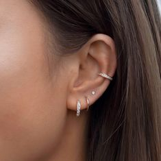 Pretty Ear Piercings, Ear Peircings, Ear Piercings Chart, Double Lobe Piercing, Three Ear Piercings, Ear Jewelry, Cute Jewelry, Jewellery, Dainty Jewelry