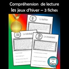 COMPRÉHENSION DE LA LECTURE- Jeux D'HIVER #1 Core French, French Classroom, Second Language, Teaching French, Learn French, About Me Blog, Teacher, Activities, Boutique