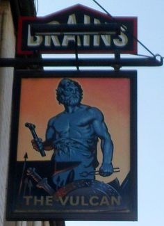 The Vulcan pub sign, Cardiff