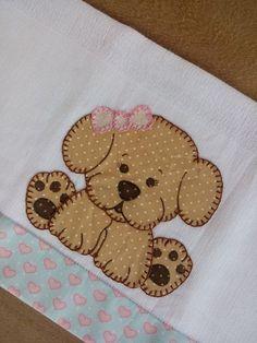 Pano de boca 1 und Baby Applique, Applique Quilt Patterns, Applique Templates, Applique Designs, Embroidery Applique, Machine Embroidery Designs, Dog Quilts, Animal Quilts, Quilt Baby