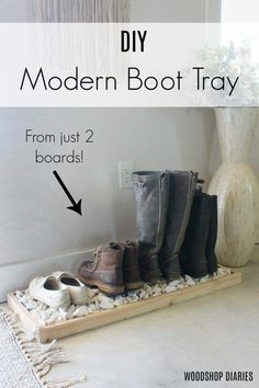 How to build a simple modern DIY boot tray with just two boards! Great beginner woodworking project Mudroom Ideas How to build a simple modern DIY boot tray with just two boards! Woodworking For Kids, Beginner Woodworking Projects, Woodworking Furniture, Woodworking Shop, Diy Furniture, Woodworking Plans, Woodworking Workshop, Woodworking Basics, Woodworking Machinery