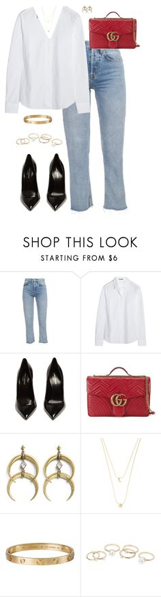 """""""Untitled #610"""" by katiemarte ❤ liked on Polyvore featuring Jil Sander, Yves Saint Laurent, Gucci, A Peace Treaty, Accessorize, Cartier and MANGO"""