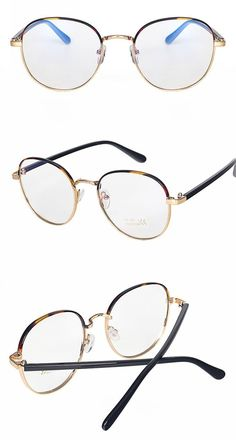 9c2ccabbec The tortoiseshell optical frames feature a circular lens shape. The frame  is made of a gold-tone metal alloy and features black acetate temples.