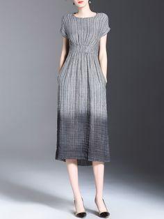Gradient Elastic-Waist Pleated Dress -SheIn(abaday) Casual Day Dresses 3b08d4c5b