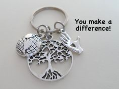 Planet Earth, Tree & Hand Keychain, Volunteer Gift, Environmental Services Gift Keychain, Community Group Gift, Thank you Gift, Earth Day Volunteer Appreciation Gifts, Volunteer Gifts, Fundraising Events, Fundraising Ideas, You Make A Difference, Farewell Gifts, World Globes, Firefighter Quotes, Volunteer Firefighter