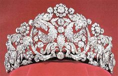 """The Braganza Tiara (or Bragança, or the Brazilian Tiara, or the Coronation Tiara) belonged to Empress Amélie of Brazil (hence """"Brazilian""""), whose husband Pedro I also used the title Duke of Braganza. Originally of French 18th century craftsmanship, Amélie had the design altered in 1820 to the current form of the tiara. When Amélie died in 1873, her sister Queen Josephine of Sweden inherited the tiara; it has remained in Sweden ever since."""