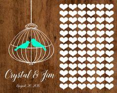 Wedding Guest book Alternative, Love birds Wedding Guestbook, Love birds Wedding Poster, Shabby Chic Wedding, Rustic Wedding, wooden poster