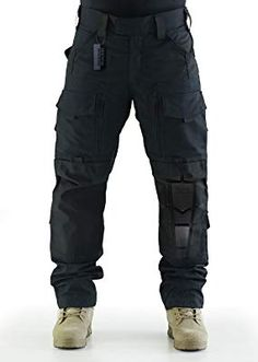 ZAPT Breathable Ripstop Fabric Pants Military Combat Multi-Pocket Molle Tactical Pants with EVA Knee Pads (Solid Black, S) Mens Tactical Pants, Tactical Wear, Tactical Clothing, Army Camo, Camo Pants, Mens Clothing Styles, Military Fashion, Trousers, Amazon