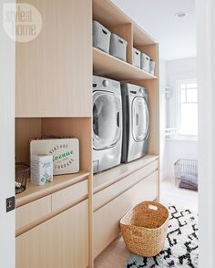 Is the laundry room your home's dirty little secret? Far from hush-hush, these four stylish interiors prove the space can be fab and functional. Small Laundry Rooms, Laundry Room Design, White Wall Paint, Laundry Solutions, Laundry Room Cabinets, Me Time, Living Room Storage, House And Home Magazine, Beautiful Bathrooms