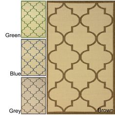 overstock. Making porches and patios feel comfortable is a snap with this indoor and outdoor area rug. Mildew won't affect this floor covering no matter where you place it. The bold geometric design will match nearly any contemporary style you have in mind.