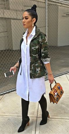 Kim likes the shirt dress - Camo jacket, white shirt dress, OTK boots, top handle handbag. Camo Fashion, Look Fashion, Fashion Outfits, Womens Fashion, Camo Outfits, Casual Outfits, Red Skirt Outfits, Xl Mode, Vetement Fashion