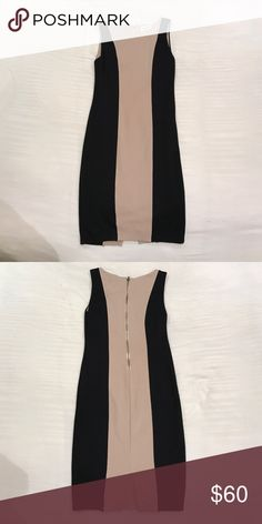 Alice & Olivia Color block dress Stretch fitted sleeves sheath dress. Black and Tan. Exposed zipper in back and sheer lining underneath. Rayon/Nylon/Spandex Alice + Olivia Dresses