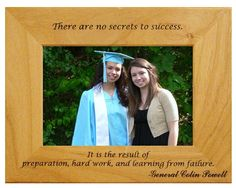 Looking for that perfect graduation gift for a loved one? This personalized graduation frame is the ideal way for your loved one to remember their accomplishment. This engraved Alderwood frame from Gift Works Plus is personalized an inspiring quote from High School Graduation Quotes, Graduation Frames, Secret To Success, The Secret, Engraved Frames, Personalized Graduation Gifts, Wise Words, Work Hard, How To Become