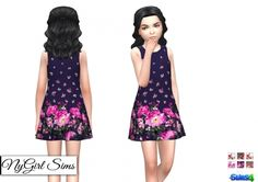 Sleeveless Floral Bordered Dress at NyGirl Sims • Sims 4 Updates