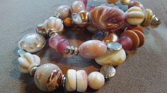 One of a Kind set of three soft pink and cream stretch bracelets #808 by LoisWagnerOriginals on Etsy