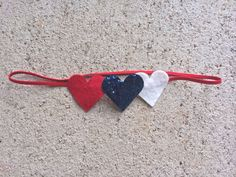 Heart Headband Red White and Blue by noelleeclothing on Etsy, $6.50