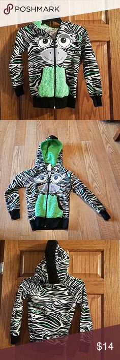 Girls zip hoodie, sz M This zebra face has ears on hood and some bling in eyes, nwot, vivid colors Belle Du Jour Shirts & Tops Sweatshirts & Hoodies