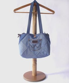 FREE SHIPPING Denim Tote Bag Hand Bag Patchwork by duduhandmade, $35.00