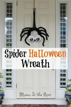 Halloween decor for the front porch. Spider decoration for Halloween. Funny googly-eyed spider for Halloween. Halloween Activities, Halloween Projects, Diy Halloween Decorations, Halloween Wreaths, Teen Activities, Homemade Decorations, Autumn Decorations, Halloween Ideas, Happy Halloween