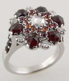 Garnet, Ruby and Diamond Cluster Ring. A truly unique engagement ring!