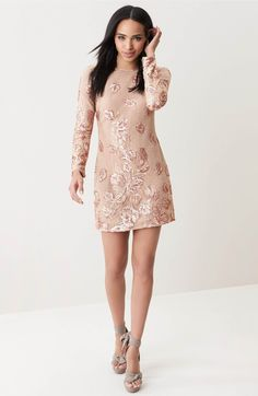 shiny pinky. Main Image - Dress the Population Naomi Lace Minidress